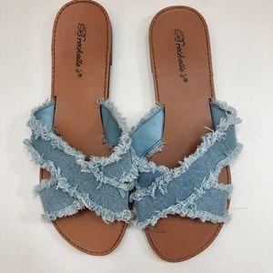 Denim Crisscross Sandals